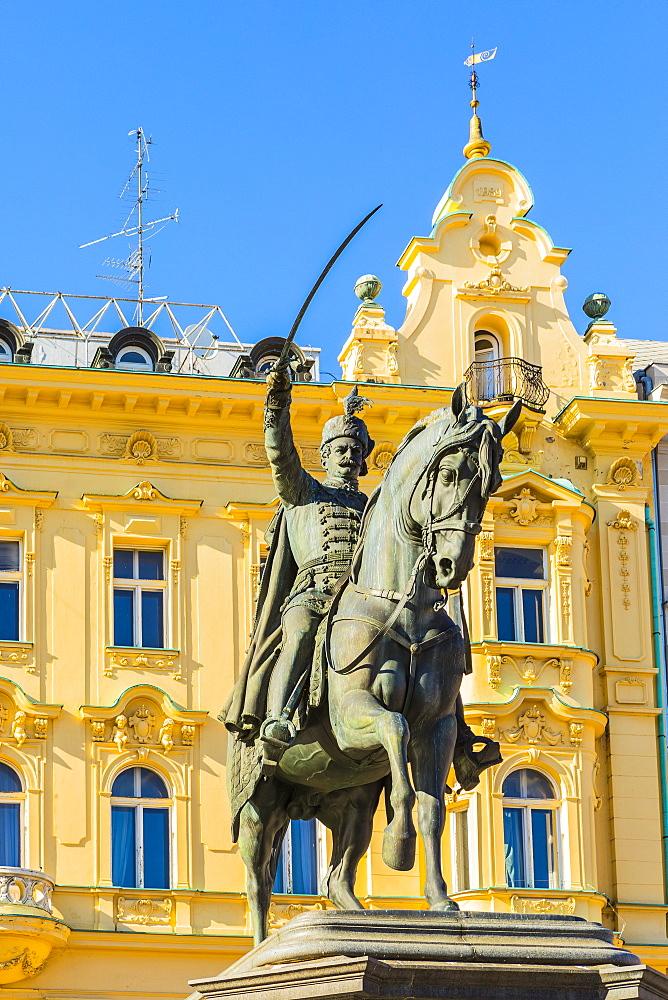 Ban Jelacic monument on Ban Jelacic Square, Zagreb, Croatia, Europe - 1207-262