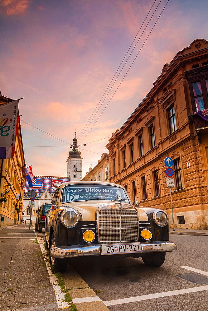 An old Mercedes Benz parked on Ćirilometodska road, Zageb, Croatia, Europe - 1207-306