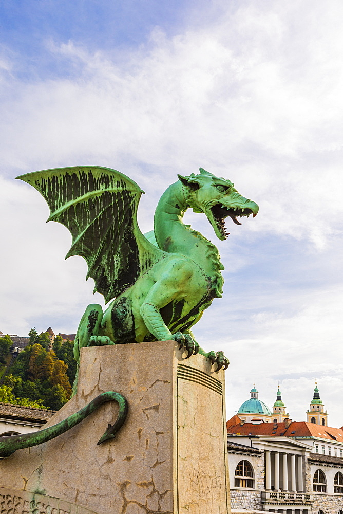 Dragon sculptures on Dragon Bridge, Ljubljana, Slovenia, Europe