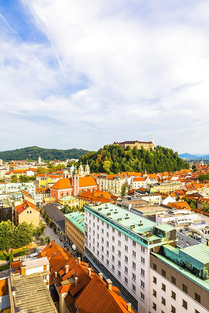 View of Ljubljana old town and Castle, Ljubljana, Slovenia, Europe - 1207-329