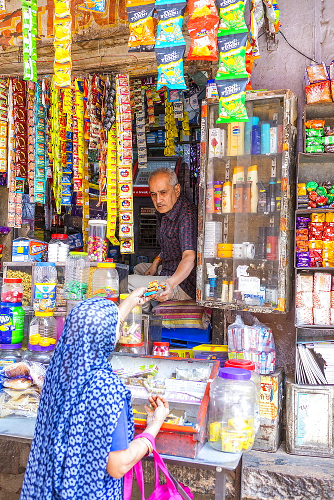 A local store in the Blue City in Jodhpur, Rajasthan, India, Asia