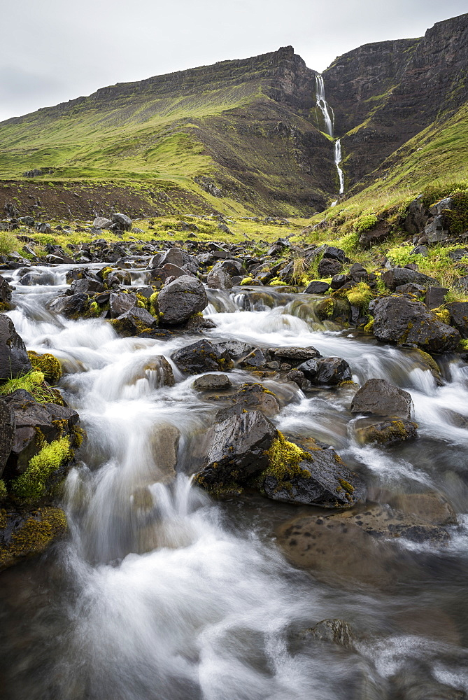 Waterfall en route to Westfjords, north west Iceland, Polar Regions