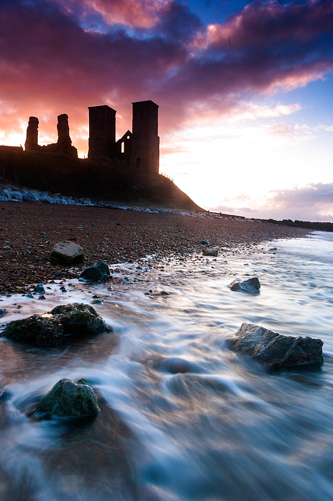 Sunset at Reculver Tower, Kent, England, United Kingdom, Europe - 1209-15