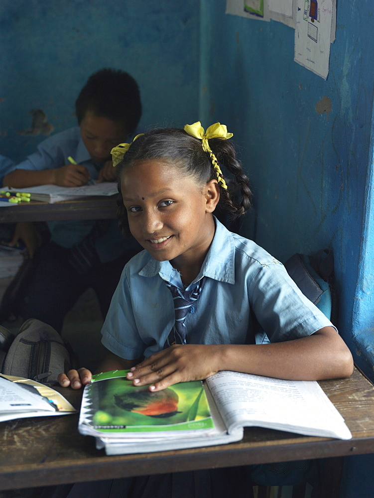 11 year-old Kamala at Himalaya Lower Secondary School in Tallagauganganda in Kaski district of Nepal, Asia