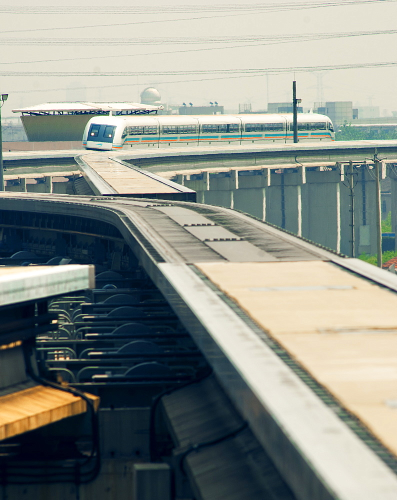 The Maglev train shuttle arriving at Shanghai airport, Shanghai, China, Asia