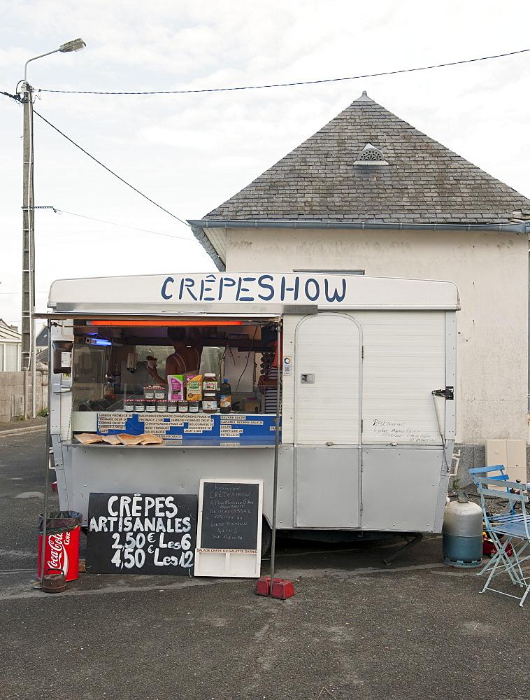 Creperie in market square, Brignogan, Brittany France