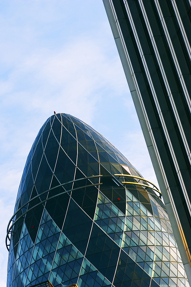 The Gherkin, 30 St. Mary Axe, designed by Norman Foster, City of London, London, England, United Kingdom, Europe