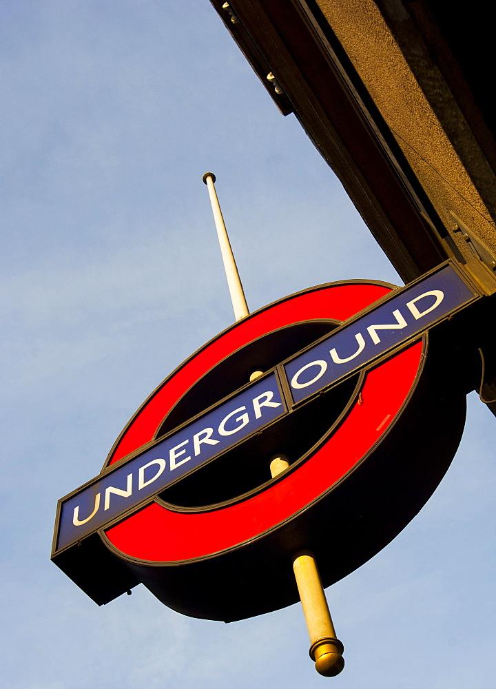 Underground/tube sign, London, England, United Kingdom, Europe