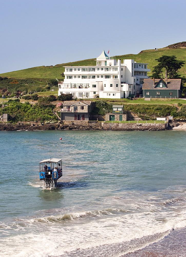 Burgh Island Hotel and Sea Tractor, Devon, United Kingdom, Europe, Europe