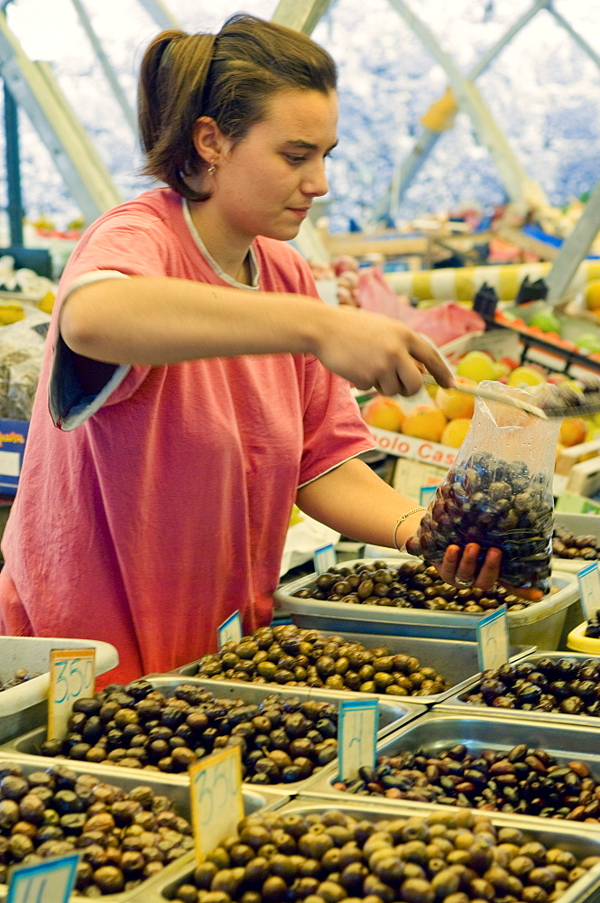 Olives in the market, Corfu, Greece, Europe