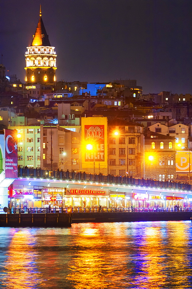 Food stalls on the Galata Bridge, Istanbul, Turkey, Europe
