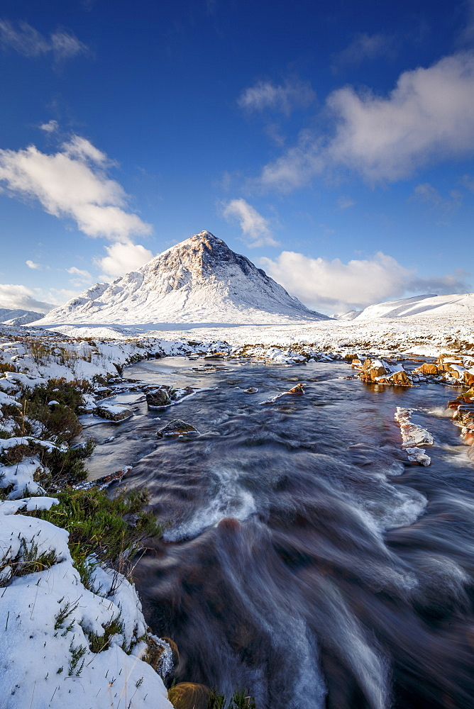 A wintery scene at Buachaille Etive Mor and River Coupall, Glencoe, Highlands, Scotland, United Kingdom, Europe - 1213-136