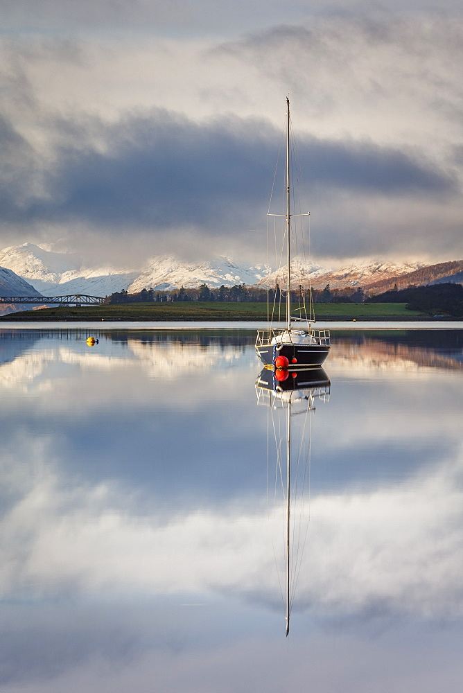 The still waters of Loch Leven near Ballachulish on a winter morning, Glencoe, Scottish Highlands, Scotland, United Kingdom, Europe. - 1213-144