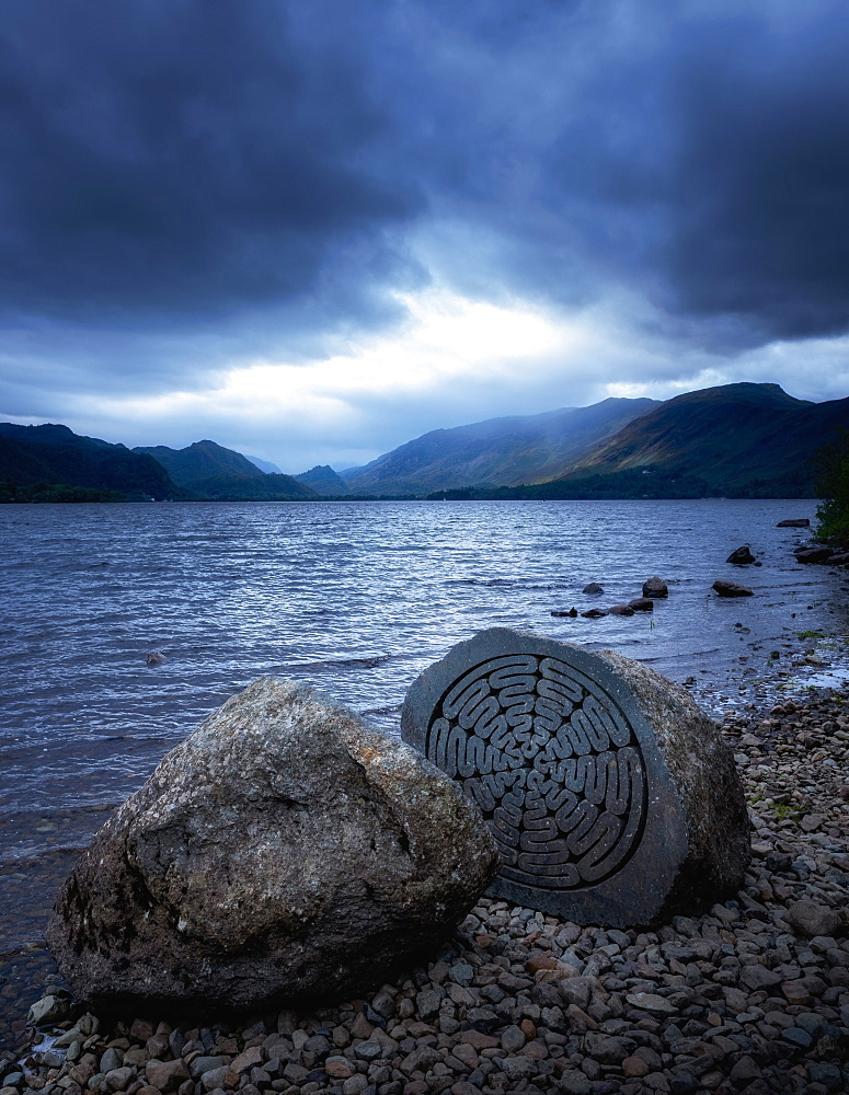 National Trust Centenary Stone, Derwent Water, Lake District National Park, UNESCO World Heritage Site, Cumbria, England, United Kingdom, Europe - 1216-346