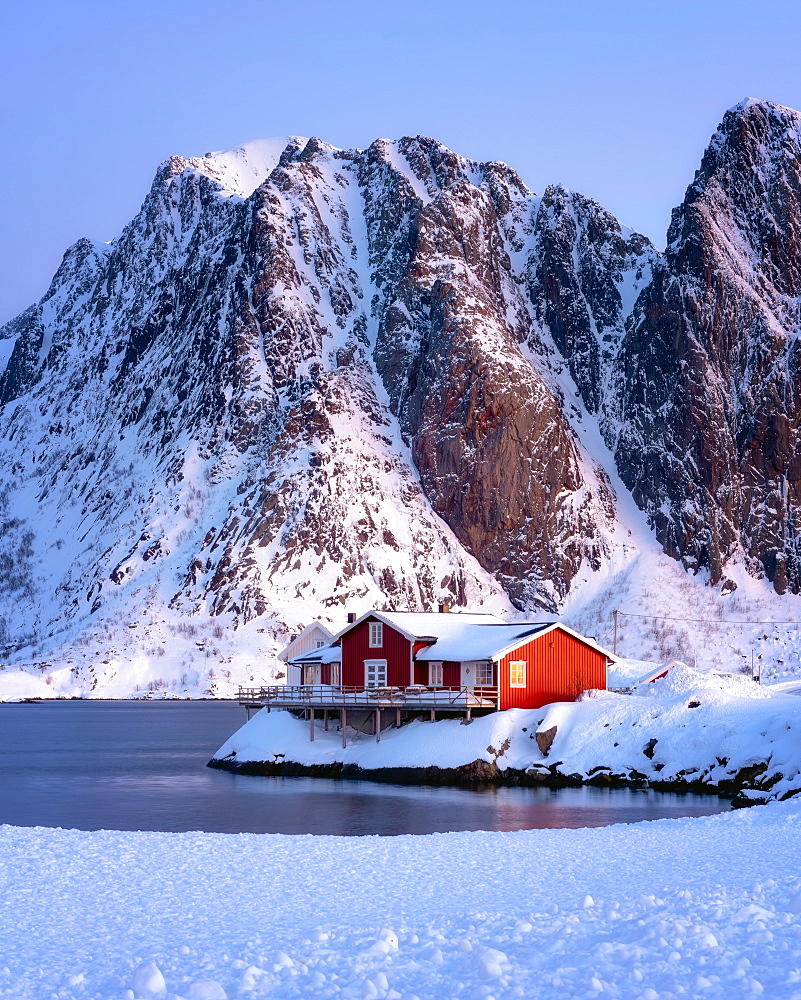 Rorbuer hut, rorbu, Sakrisoy, Moskenesoy, Lofoten islands, Nordland, Norway, Europe - 1216-406