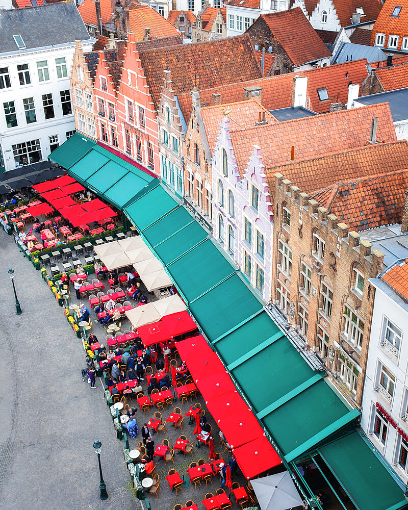 Medieval guild houses on Market (Markt) square, Bruges, West Flanders, Belgium