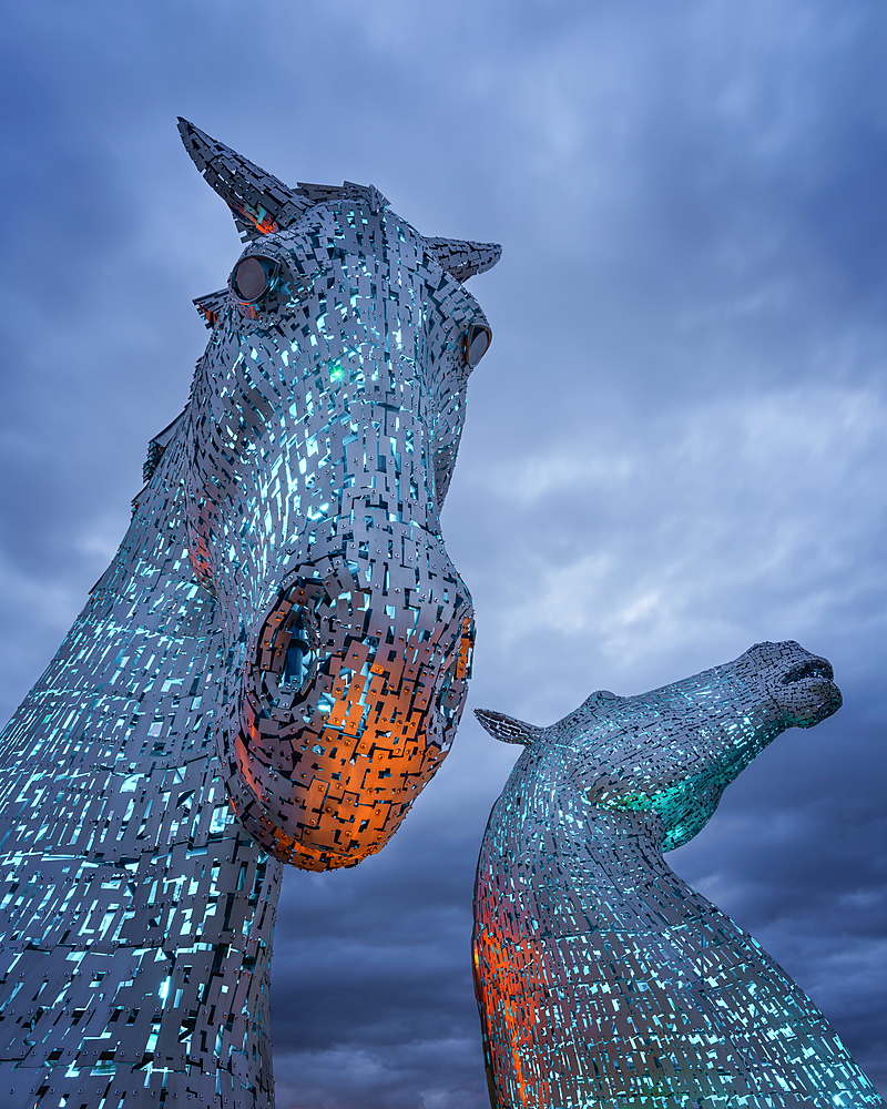 The Kelpies at blue hour, Forth and Clyde Canal at Helix Park, Falkirk, Stirlingshire, Scotland, United Kingdom, Europe - 1216-510