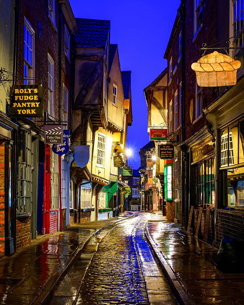 The Shambles at blue hour, York, Yorkshire, England, United Kingdom, Europe