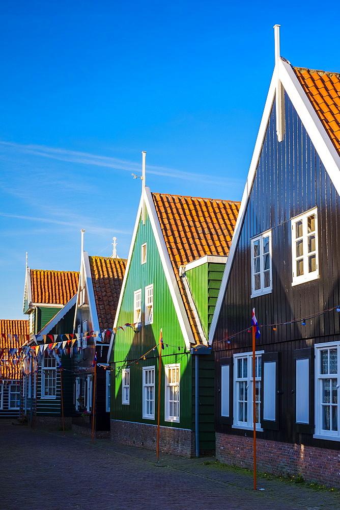 Houses in the village of Kerkbuurt, Marken, North Holland, Netherlands, Europe - 1217-295