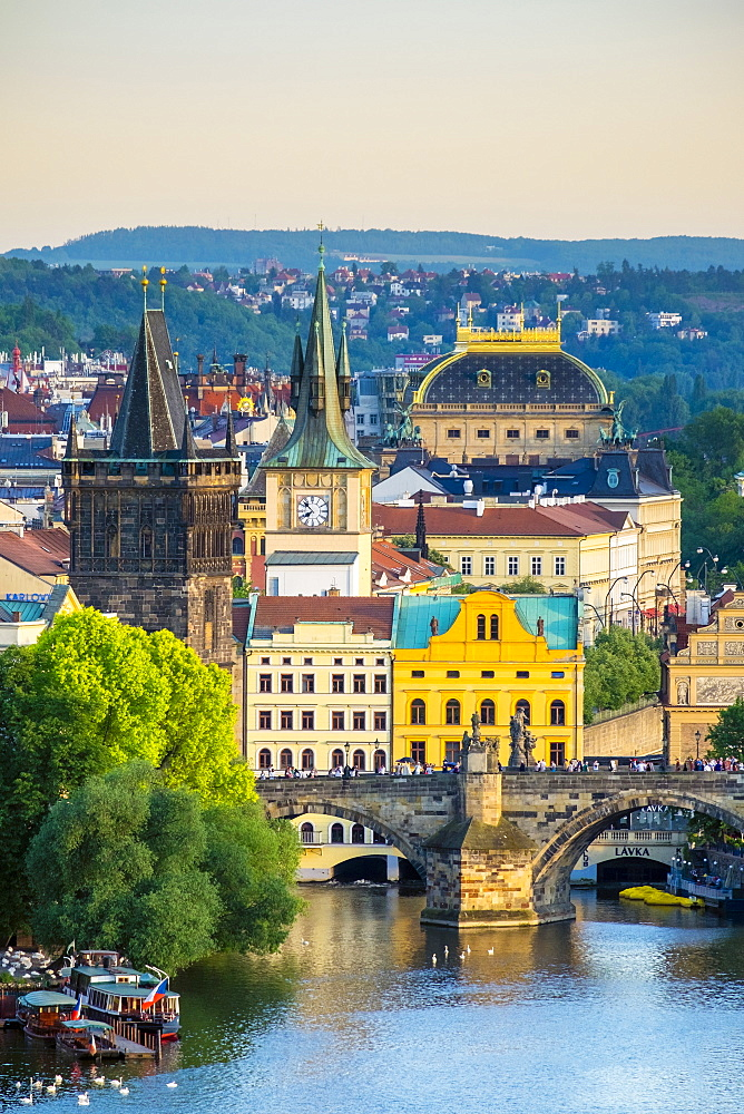 View of Charles Bridge and buildings in Mala Strana Old Town from Letna Park, on Letna Hill, Prague, Czech Republic, Europe
