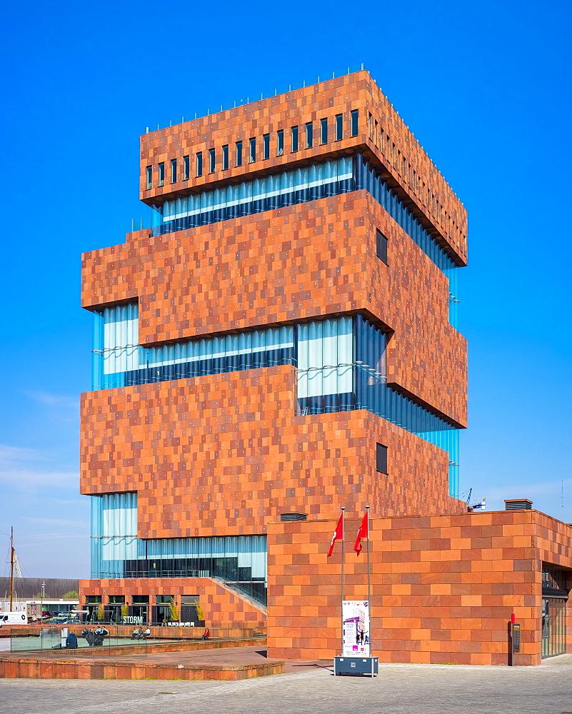 MAS Museum (Museum aan de Stroom), located along the Scheldt River in the Eilandje district, Antwerp (Antwerpen), Flanders, Belgium, Europe