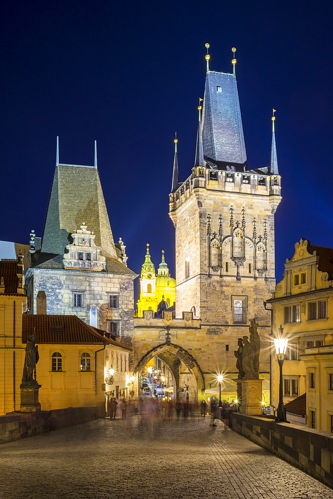 Charles Bridge and buildings in Mala Strana at night, UNESCO World Heritage Site, Prague, Czech Republic, Europe