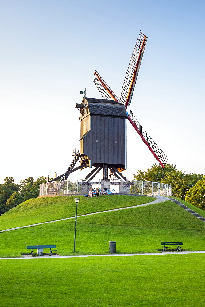 Sint-Janshuis Mill (Sint-Janshuismolen) windmill in the Kruisvest park, Bruges (Brugge), West Flanders (Vlaanderen), Belgium, Europe - 1217-419