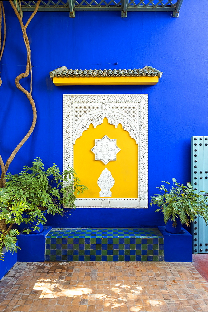 Decorative architectural elements and blue wall at Jardin Majorelle Gardens, Marrakesh, Morocco, North Africa, Africa - 1217-488