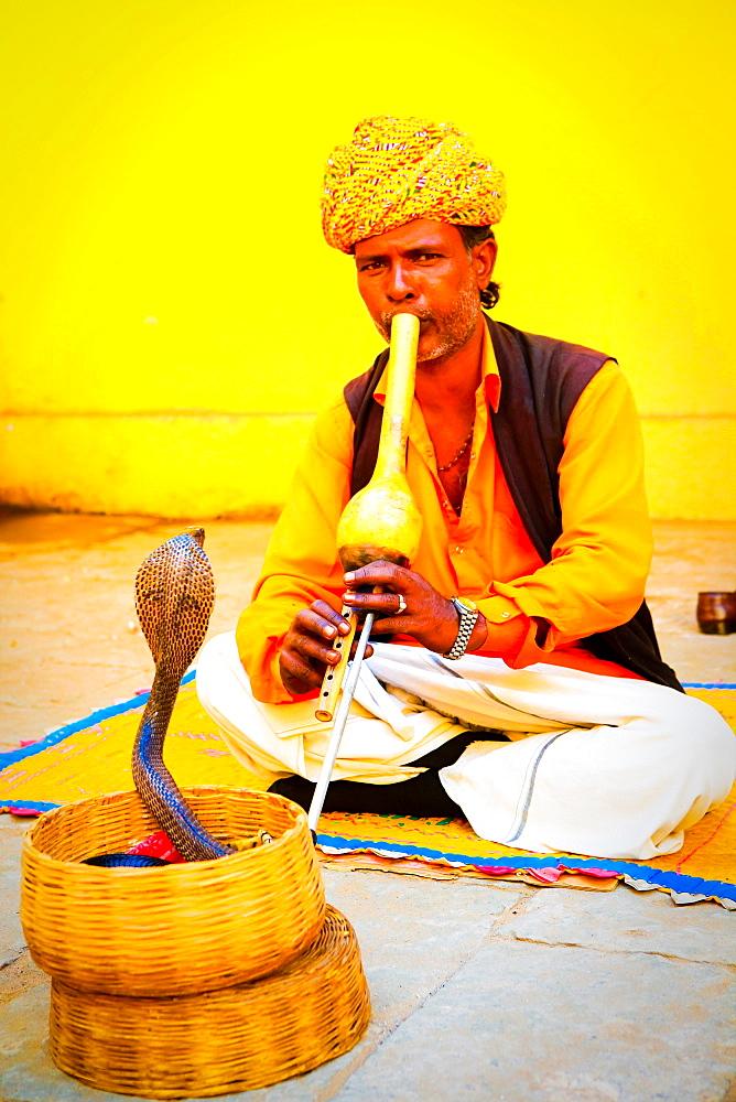 Snake charmer, Old Delhi, India, Asia
