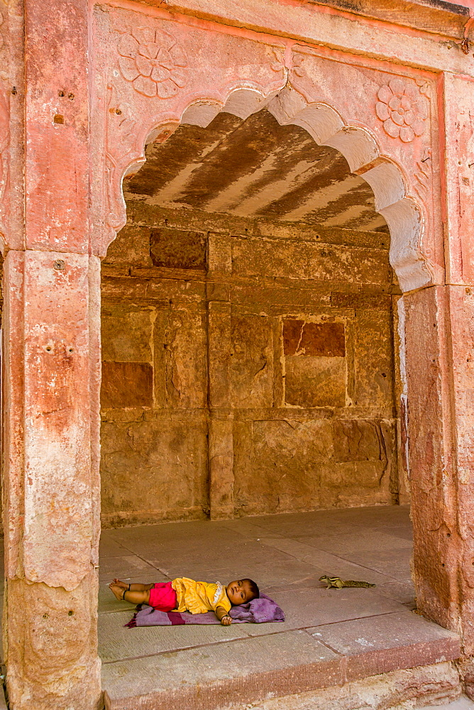Baby resting in the shade at Mehrangarh Fort in Jodhpur, the Blue City, Rajasthan, India, Asia