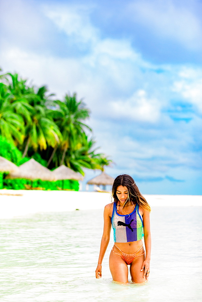 Scenic at Conrad Maldives Rangali Island with model, Maldives, Indian Ocean, Asia