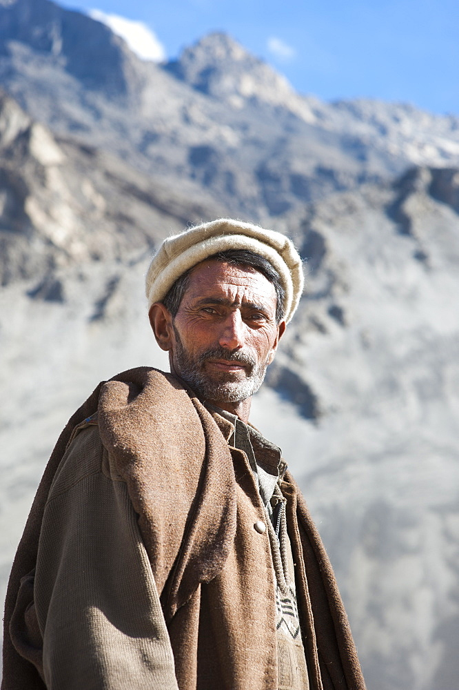 A man photographed near Skardu, Gilgit-Baltistan, Pakistan, Asia