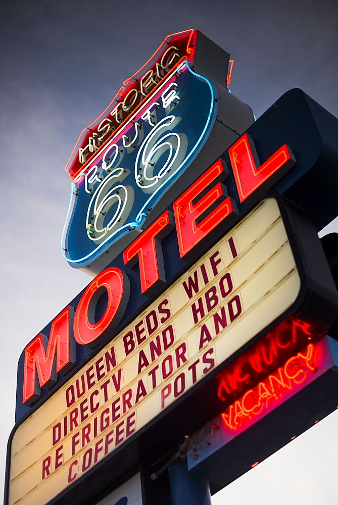 Historic Route 66 Neon Motel sign showing a vacancy, Seligman, Arizona, United States of America, North America