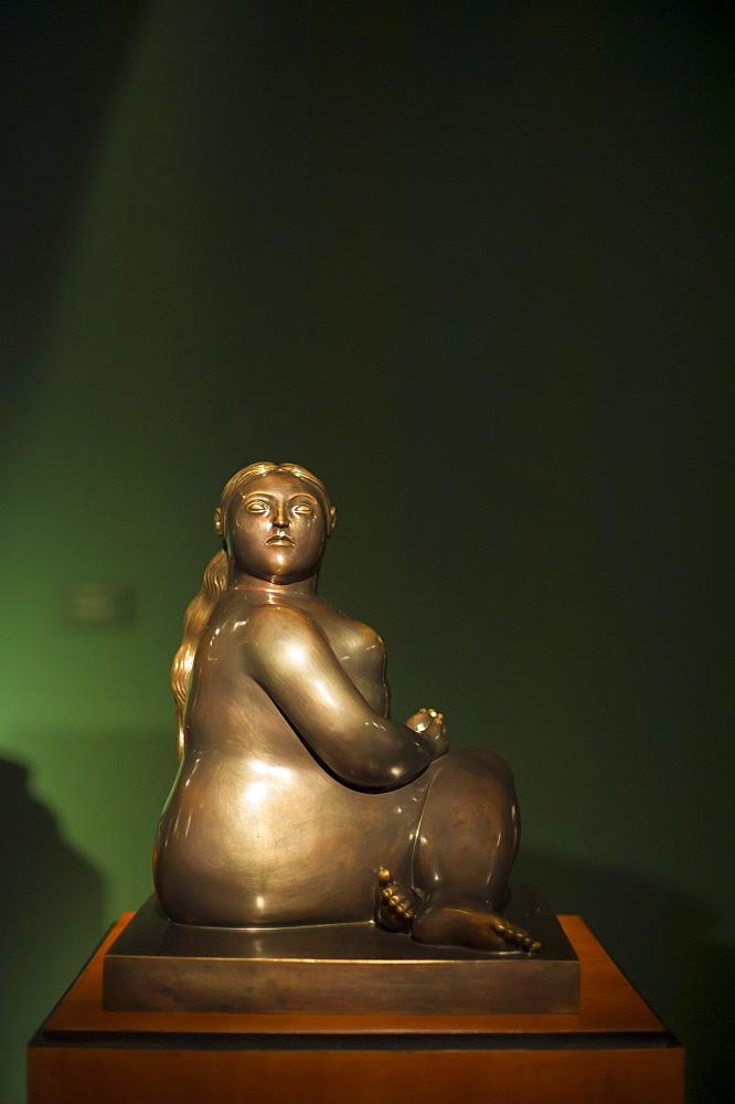 A Fernando Botero sculpture at the Museo Botero, Bogota, Colombia, South America