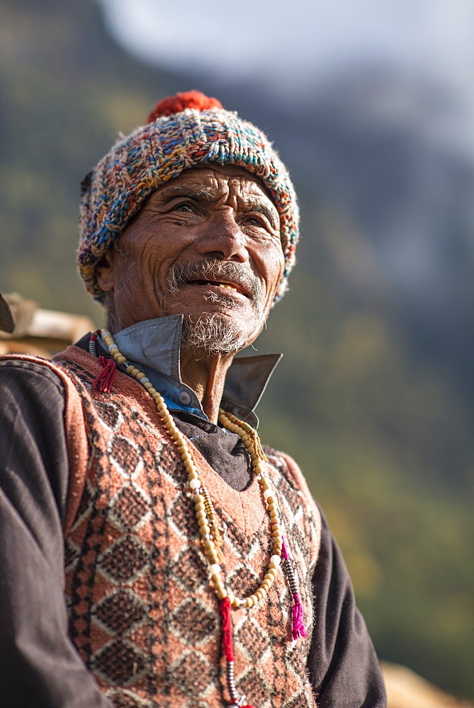 An old Tibetan man in the Langtang Valley, Nepal, Asia