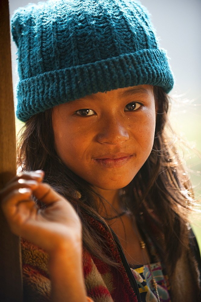 Nepali girl near Kalibote on the Manaslu circuit trek, Nepal, Asia