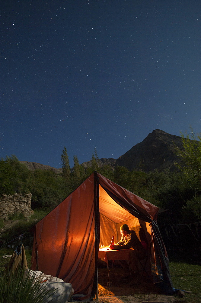 Dining under the stars during the Hidden Valleys trek in Ladakh, India, Asia