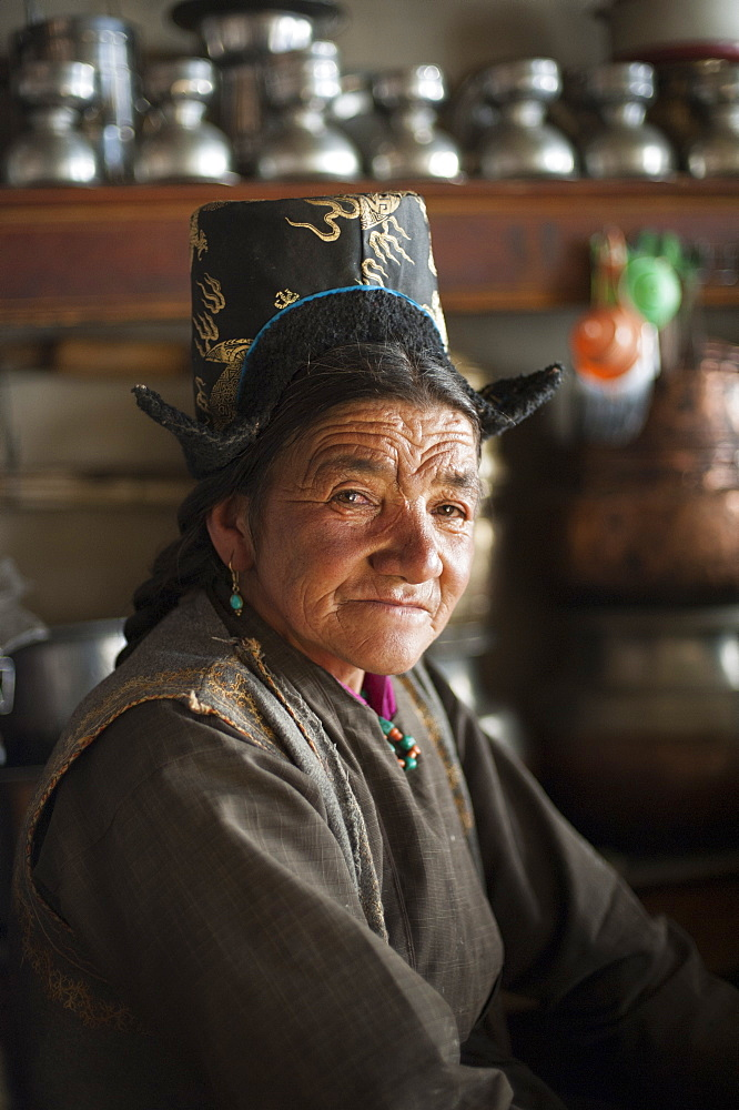 A Ladakhi woman wearing traditional dress, Ladakh, India, Asia