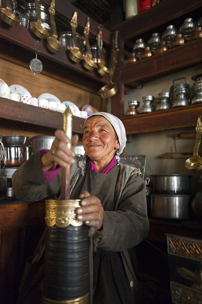 Ladakhis are said to often drink up to 40 cups of butter tea a day, Ladakh, India, Asia