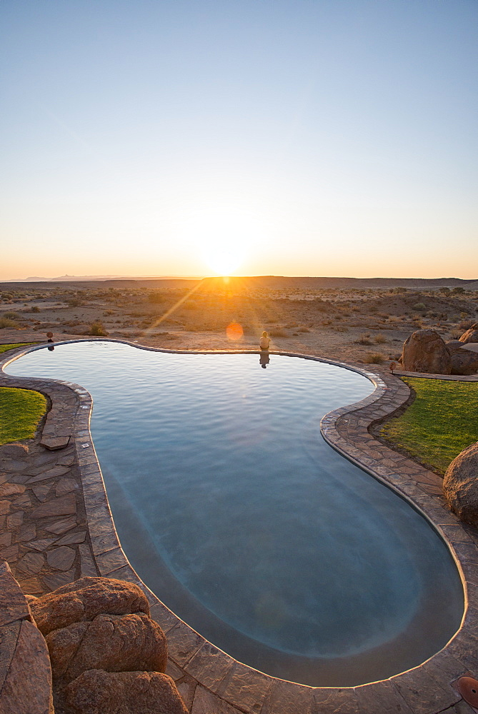A swimming pool on the edge of the desert at Canyon Lodge near the Fish River Canyon, Namibia, Africa