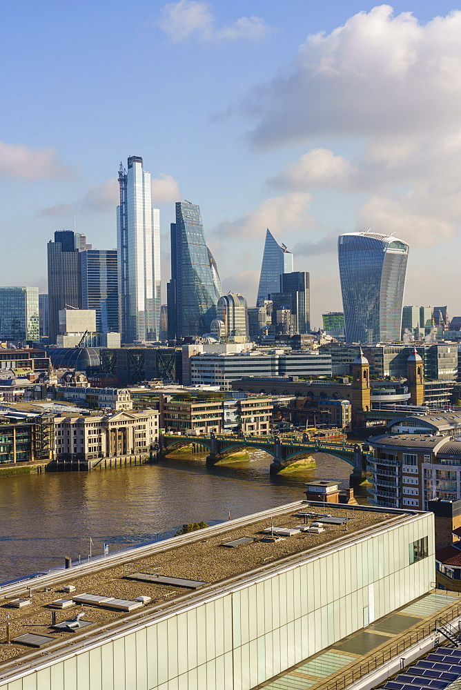 City of London skyline with Tate Modern art gallery in the foreground, London, England, United Kingdom, Europe - 1226-1003