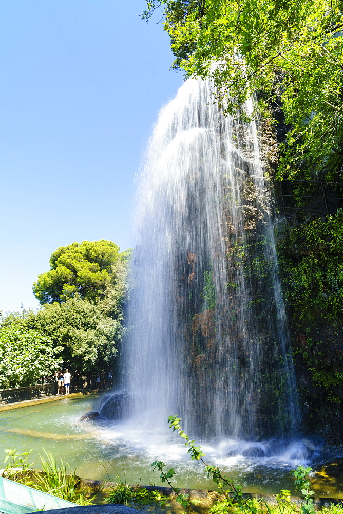 Waterfall, Parc de la Colline de Chateau, Nice, Alpes Maritimes, Cote d'Azur, Provence, France, Europe