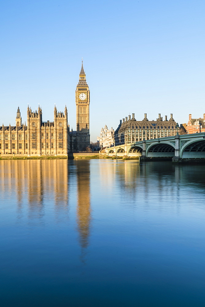 Big Ben, the Palace of Westminster and Westminster Bridge, London, England, United Kingdom