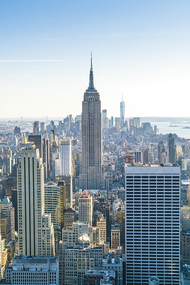 Manhattan skyline and Empire State Building, New York City, USA