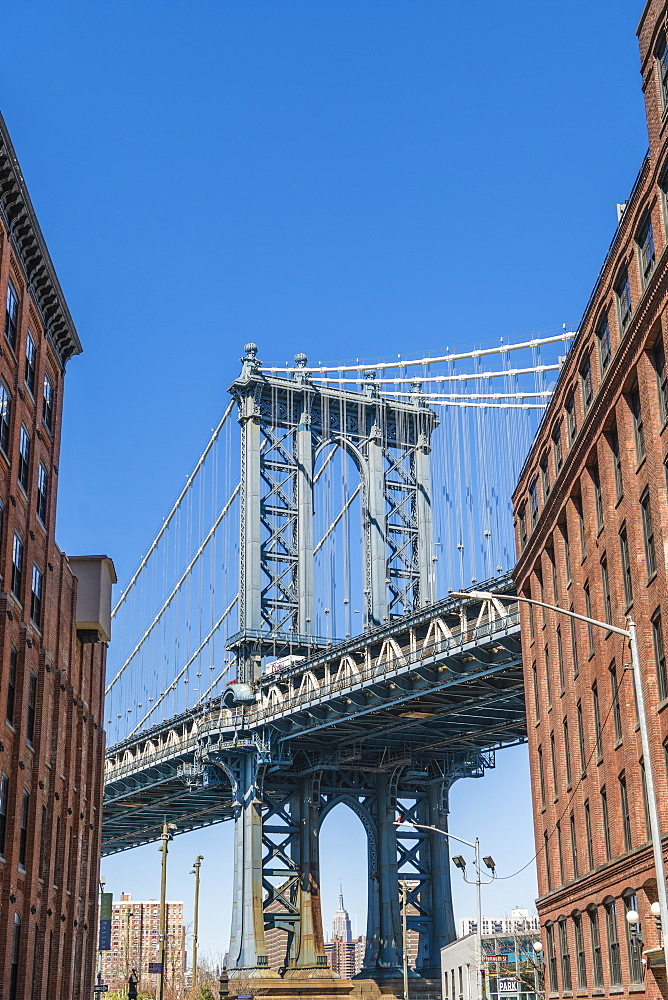 Manhattan Bridge and Empire State Building from Dumbo Historic District, Brooklyn, New York City, USA
