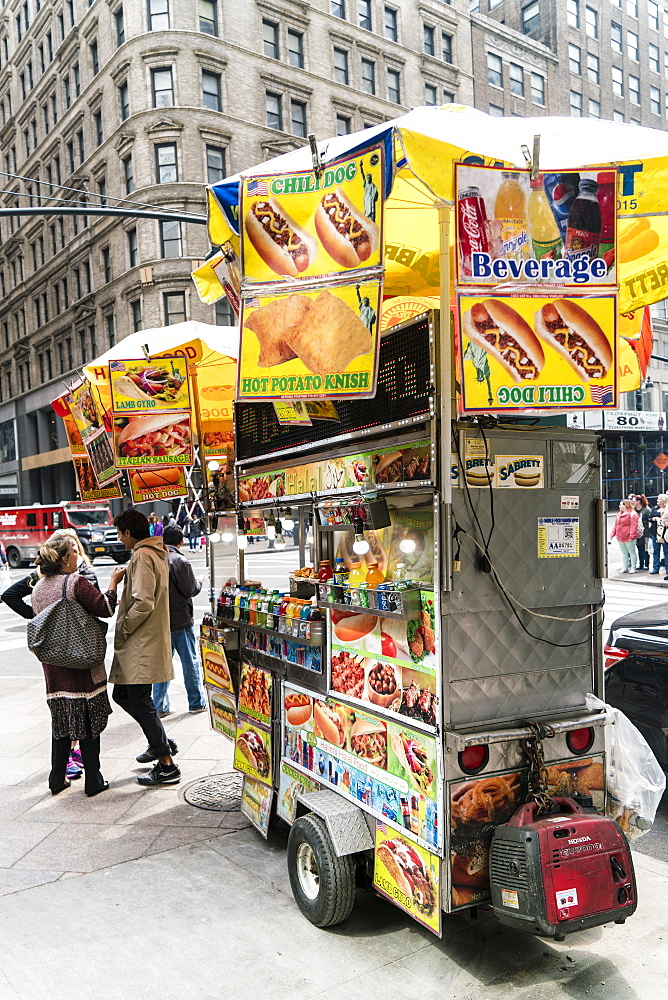 Street food cart, Manhattan, New York City, United States of America, North America
