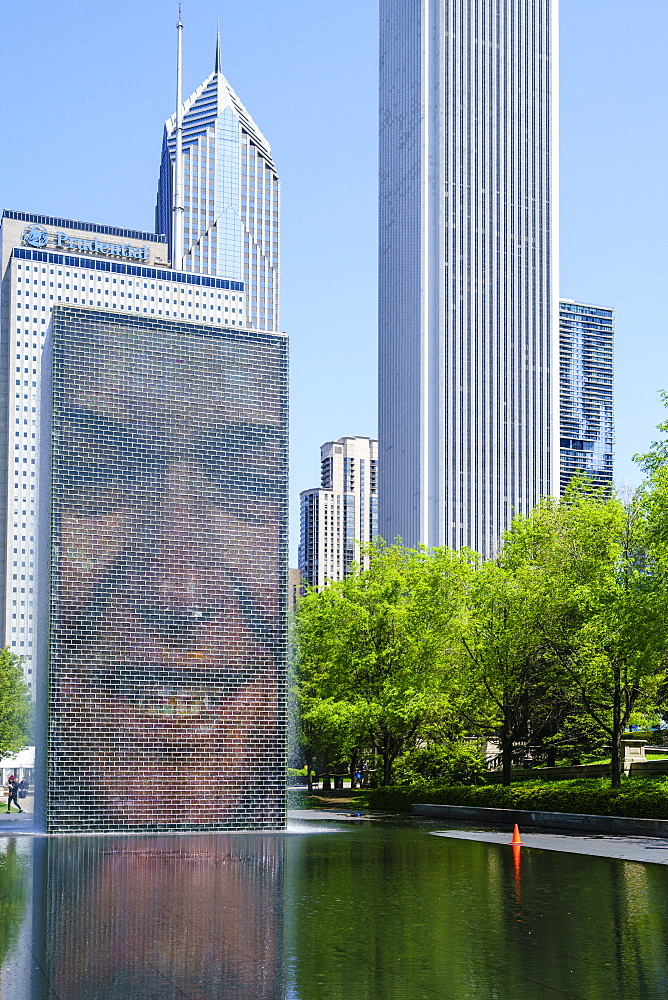 Crown Fountain in Millennium Park, Chicago, Illinois, United States of America, North America