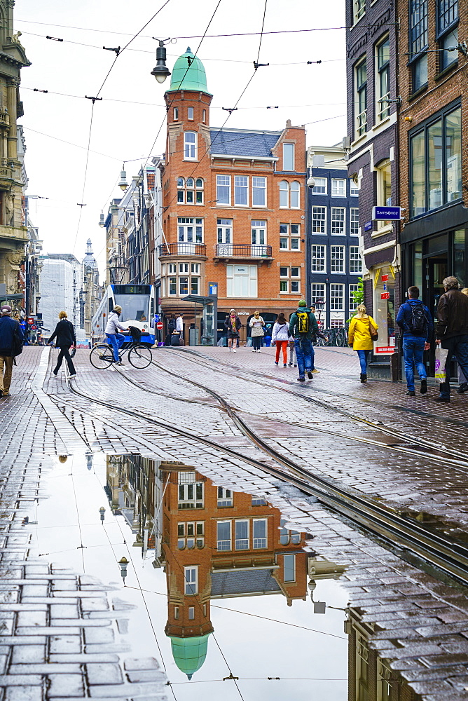 Reflections on a rainy day, Amsterdam, Netherlands, Europe