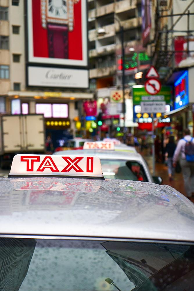 Taxi cab, Causeway Bay, Hong Kong Island, Hong Kong, China, Asia