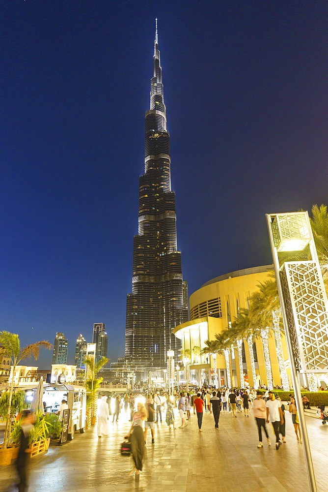 Burj Khalifa and the Dubai Mall by night, Dubai, United Arab Emirates, Middle East
